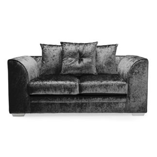 An Image of Blake Crushed Velvet 2 Seater Sofa Black