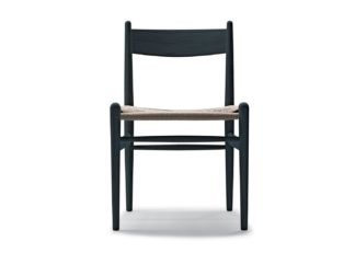 An Image of Carl Hansen & Søn CH36 Chair Black Oak Natural Cord Seat