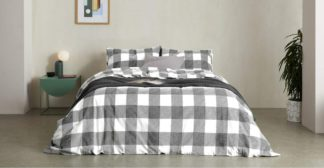 An Image of Filby Brushed Cotton Duvet Cover + 2 Pillowcases, Double, Black & White