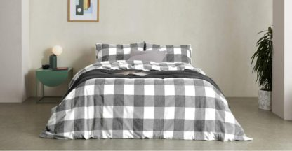 An Image of Filby Brushed Cotton Duvet Cover + 1 Pillowcases, Single, Black & White