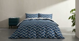 An Image of Otis Cotton Duvet Cover + 2 Pillowcases Double, Midnight Blue UK