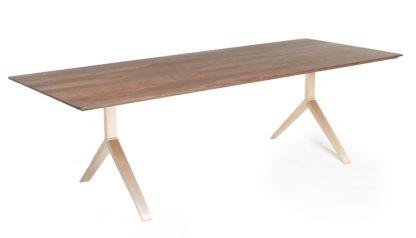 An Image of De La Espada Overton Table 10-12 Seater Walnut Solid Brass