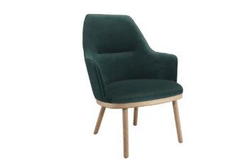An Image of Wewood Sartor Lounge Chair Dark Oak & Velvet