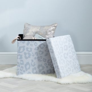 An Image of Snow Leopard Animal Print Foldable Cube Ottoman Natural