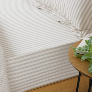 An Image of Hebden Natural Stripe 100% Cotton Fitted Sheet Cream