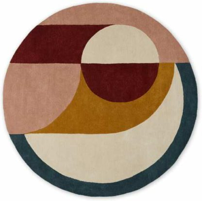 An Image of Bascome Round Handtufted Wool Rug, 2m Diam, Multi