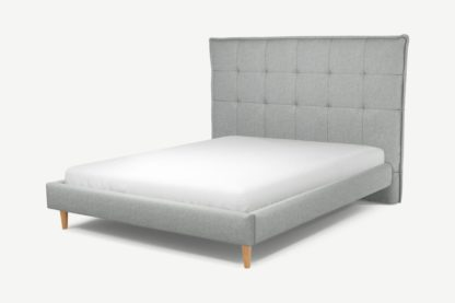 An Image of Custom MADE Lamas King Size Bed, Wolf Grey Wool with Oak Legs