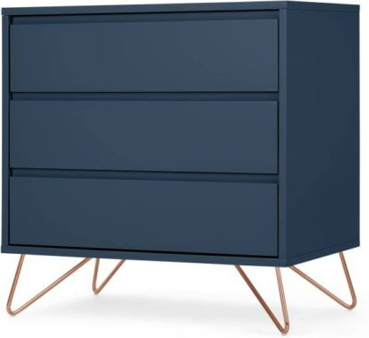 An Image of Elona Compact Chest of Drawers, Dark Blue & Copper