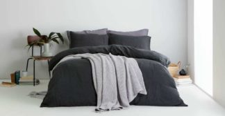 An Image of Grove 100% Cotton Stonewashed Waffle Bedspread,150 x 200cm, Silver Grey