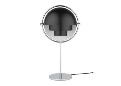 An Image of Gubi Multi Lite Table Lamp Chrome Black Shade