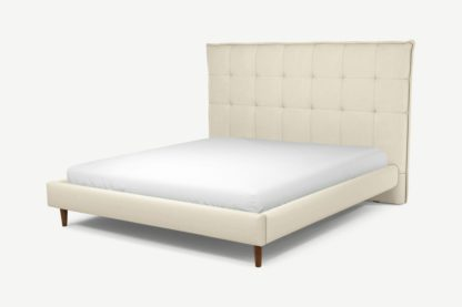 An Image of Custom MADE Lamas Super King Size Bed, Putty Cotton with Walnut Stained Oak Legs