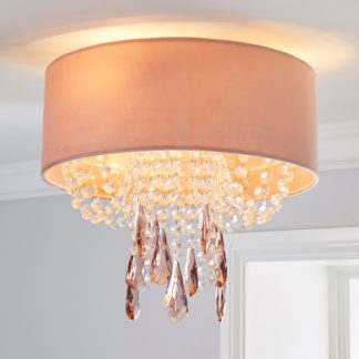 An Image of Halle 1 Light Blush Pink Shade Flush Ceiling Fitting Blush