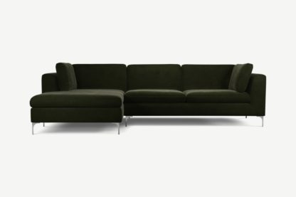 An Image of Monterosso Left Hand Facing Chaise End Sofa, Dark Olive Velvet with Chrome Leg