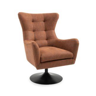 An Image of Roan PU Leather Swivel Chair - Tan Brown