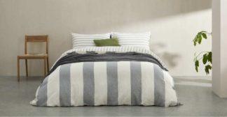 An Image of Kelsey Linen/Cotton Stripe Duvet Cover + 2 Pillowcases, Super King, Iron Grey UK