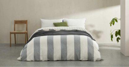 An Image of Kelsey Linen/Cotton Stripe Duvet Cover + 2 Pillowcases, Double, Iron Grey UK