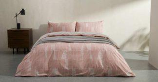 An Image of Bakari Cotton Duvet cover + 2 Pillowcases, King, Plaster Pink UK
