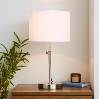 An Image of Hemming Adjustable Height Satin Nickel Table Lamp Satin Nickel