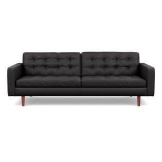 An Image of Heal's Hepburn 4 Seater Sofa Leather Grain Graphite 063 Walnut Feet