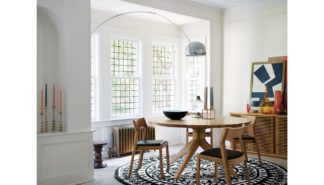 An Image of Case Cross Round Dining Table Oak