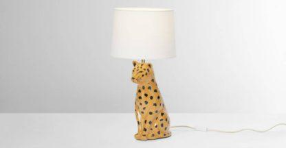 An Image of Raja Leopard Ceramic Table Lamp, Tan