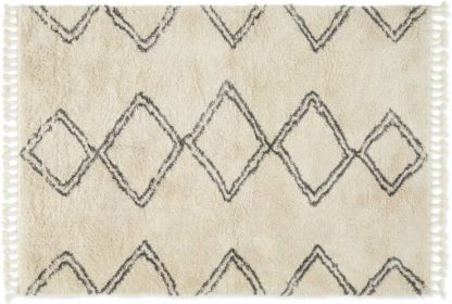 An Image of Caram Berber Style Rug, Extra Large 200 x 300cm, Off White & Charcoal Grey