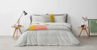An Image of Fleck Brushed Cotton Duvet Cover + 2 Pillowcases, Double, Grey UK