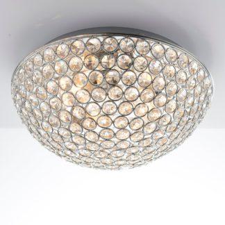 An Image of Endon 3 Light Chryla Crystal Flush Ceiling Fititng Chrome