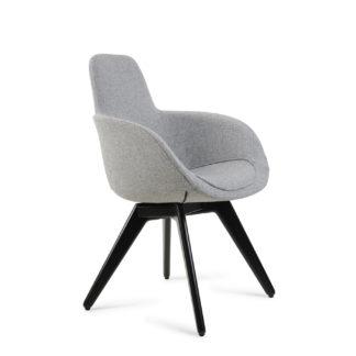 An Image of Tom Dixon Scoop High Chair Grey Fabric Black Legs