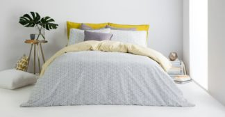 An Image of Trio Cotton Reversible King Duvet Cover + 2 Pillowcases, Elephant Grey UK