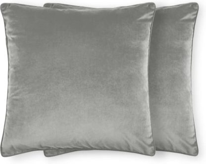An Image of Julius Set of 2 Large Velvet Cushions, 59 x 59cm, Silver Grey