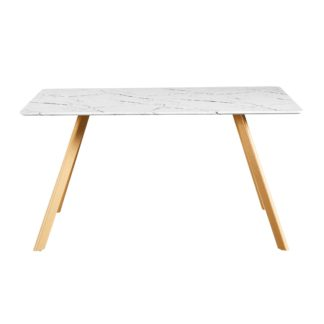 An Image of Venice Marble Effect Dining Table White