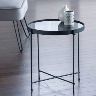 An Image of Oakland Mirrored Side Table Black