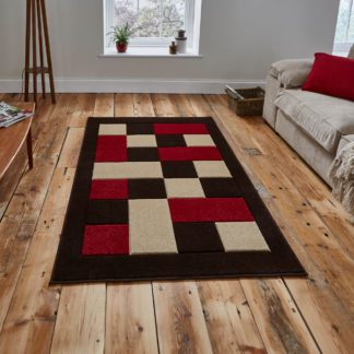 An Image of Red Matrix Rug Brown/Red