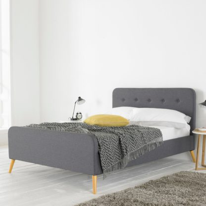 An Image of Renee Bed Frame Oatmeal (Brown)