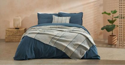 An Image of Sena Organic Cotton Stonewashed Duvet Cover + 2 Pillowcases, King, Indigo Blue Uk