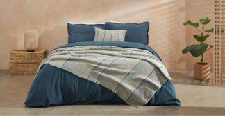 An Image of Sena Organic Cotton Stonewashed Duvet Cover + 2 Pillowcases, Double, Indigo Blue Uk