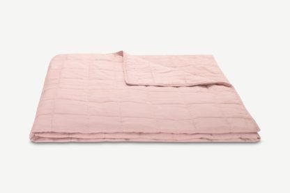 An Image of Brisa 100% Linen Soft Washed Bedspread, 220 x 225cm, Dusty Pink