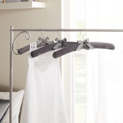 An Image of Set of 3 Luxe Grey Velvet Hangers Grey