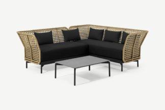 An Image of Balawa Garden Corner Sofa Set, Natural & Grey