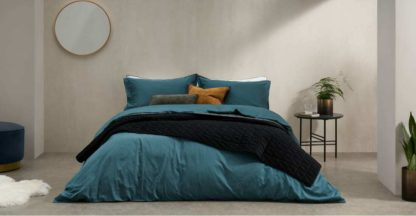 An Image of Hylia Washed Cotton Satin Duvet Cover + 2 Pillowcases, Double, Teal Blue