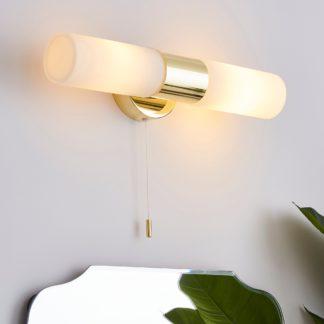 An Image of Porto Bathroom 2 Light Wall Light Brass Brass