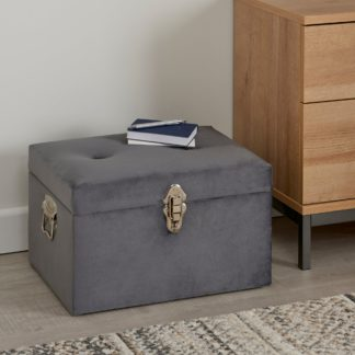 An Image of Luxe Grey Velvet Trunk Grey