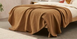 An Image of Cael 100% Cotton Matelasse Bedspread, 150 x 200cm, Tobacco
