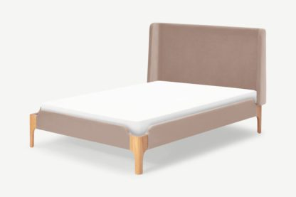 An Image of Roscoe King Size Bed, Pearl Pink Velvet & Oak Legs