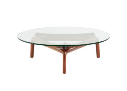 An Image of Artisan Pascal Coffee Table Walnut Clear Glass