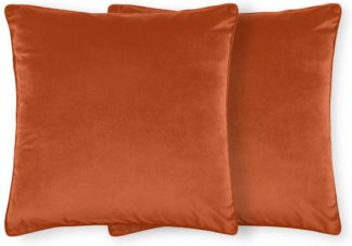 An Image of Julius Set of 2 Velvet Cushions, 59 x 59cm, Burnt Orange