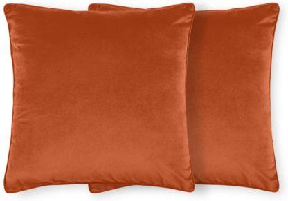 An Image of Julius Set of 2 Velvet Cushions, 59 x 59cm, Burnt Orange