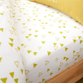 An Image of Catherine Lansfield Geometric Yellow Fitted Sheet Yellow
