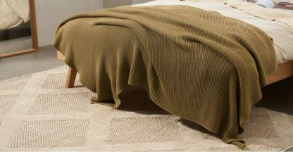 An Image of Brawley 100% Cotton Knitted Throw, 130 x 170cm, Tan